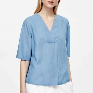COS Chambray V-Neck Pleated Popover Blouse Top